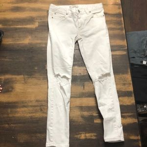 White high waisted free people distressed jeans